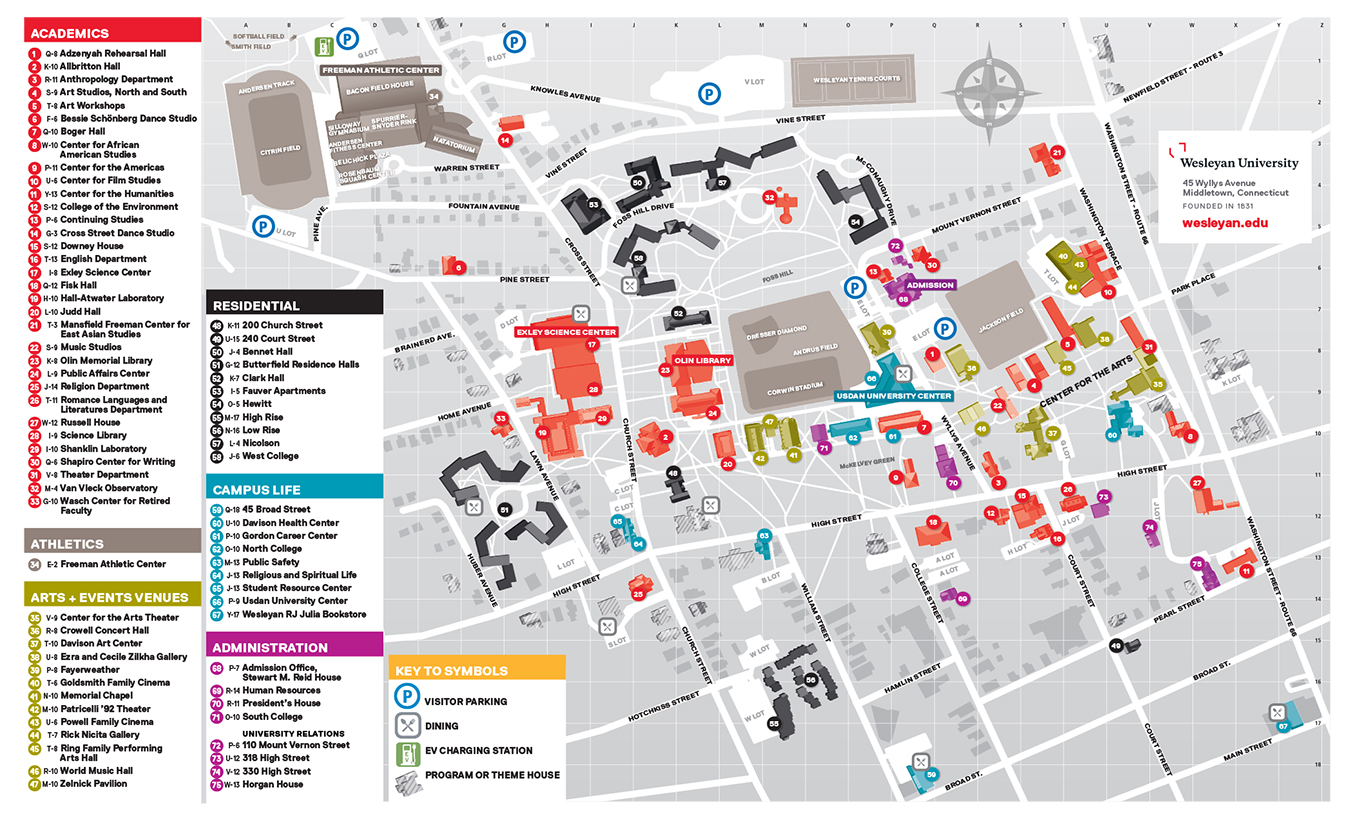 connecticut college campus map Printable Campus Map About Wesleyan University connecticut college campus map