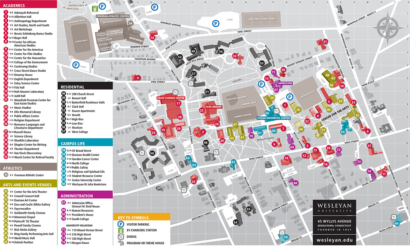 Printable Campus Map About Wesleyan University